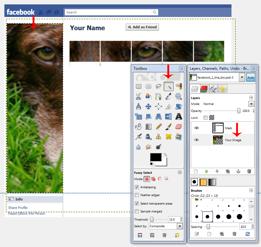 gimp2 How to Create an Awesome Facebook Profile
